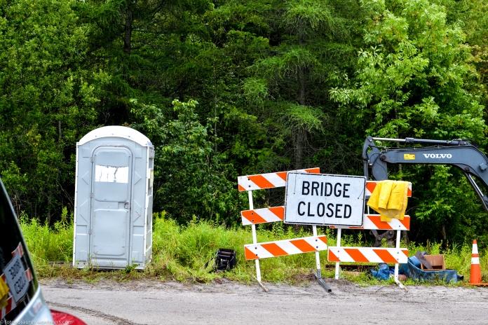 lower road culvert bridge closed sign